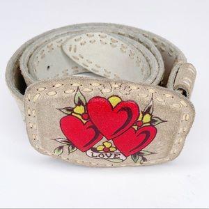 """Ed Hardy white leather """"love"""" belt heart's motif"""